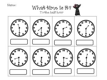 Telling Time with Ninjas (to the hour, half hour, and 5