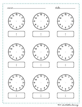 Time Worksheet Blank Clock Montessori Printable by Sand