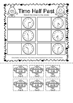 Time- O'clock and Half Past, Worksheets, Printables