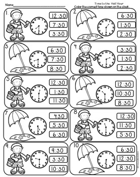 Time to the Half Hour Summer Theme Common Core Print and