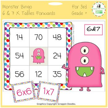 times tables monster multiplication bingo 6 7 x forwards