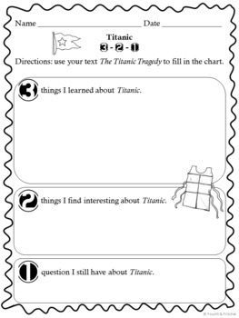 Titanic Comprehension Activities By Fourth And Fritcher
