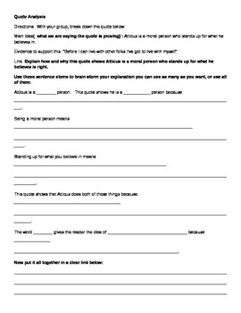 To Kill A Mockingbird Quote Analysis Worksheets by Lit