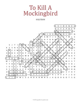 To Kill a Mockingbird Word Search Puzzle by Puzzles to
