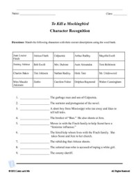 To Kill a Mockingbird Character Recognition and Quote Test ...