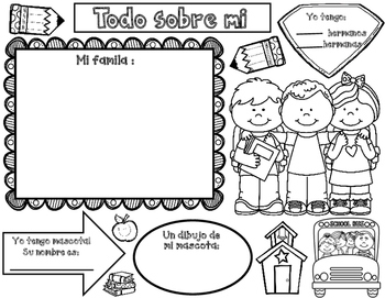 Todo Sobre Mi: Spanish All About Me School Kids by