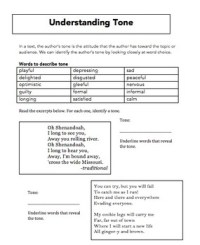Tone Worksheet Freebie by Emily Kissner