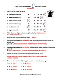Topic 1 Periodic Trends Worksheet C answers by Chez Chem | TpT