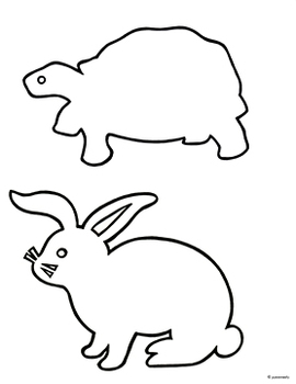 Tortoise & Hare: Free Black & White Outline/Shadow Puppet