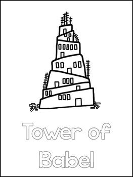 Tower of Babel Printable Color Sheets. Preschool Bible