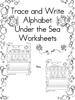 Trace and Write Under the Sea Worksheets by