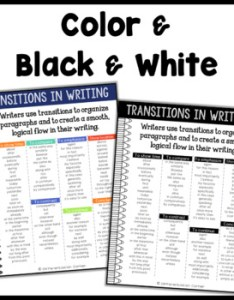 Transitions for writing poster anchor chart transition words and phrases also rh teacherspayteachers