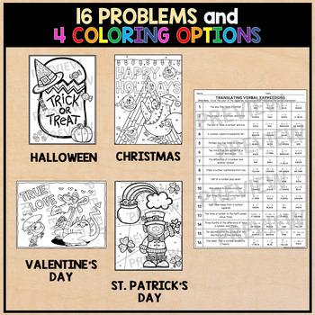 Translating Algebraic Expressions VALENTINE'S DAY Algebra