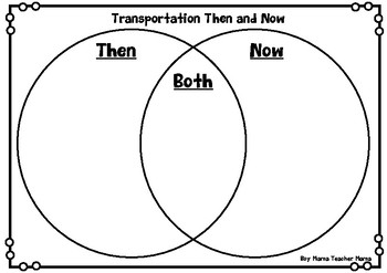 Transportation Then and Now Venn Diagram and Writing