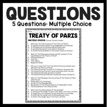 Treaty of Paris Reading Comprehension Worksheet; American