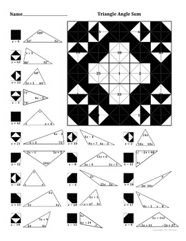 Triangle Angle Sum Theorem (with Algebra) Color Worksheet