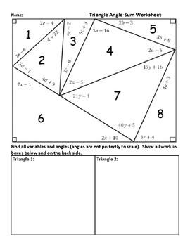 Triangle Angle Sum Worksheet : triangle, angle, worksheet, Triangle, Angle, Worksheet, Answer, Worksheets, Plant