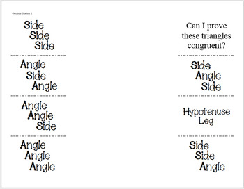 Congruent Triangles Foldable ~Postulate/Theorem ~SSS~SAS