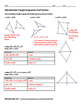 Triangle Proofs Worksheet Answers : triangle, proofs, worksheet, answers, Triangle, Congruence, Proof, GEOMETRY, Worksheet, Pecktabo