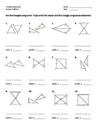Triangle Congruence Worksheet - Practice Problems by Dr ...