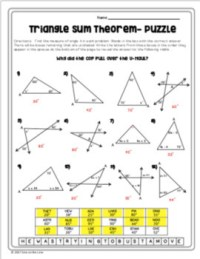 Triangle Sum Theorem - Puzzle Worksheet by Mrs Castro's ...