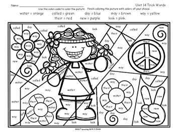 Tricky Words FREE Color By Word UNIT 14 Level 1 by