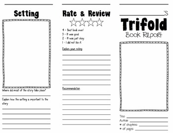 Trifold Book Report By Gary Thury Teachers Pay Teachers