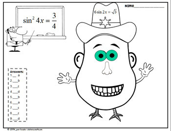 Trig Equations with Mr. Math Head Fun Activity by Joan