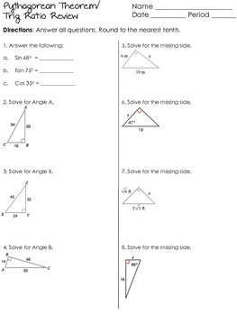 PowerPoint Pythagorean Theorem Review game t