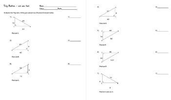 Trigonometry Ratios of Sine Cosine Tangent Task Cards plus