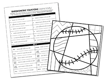 Trigonometric Equations Coloring Activity by All Things