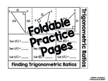 Trigonometric Ratios: Interactive Notebook Pages by 4 the