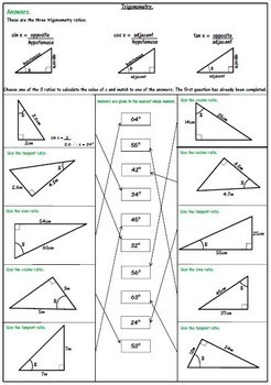 Right Triangle Trigonometry Worksheets: SOH CAH TOA by 123