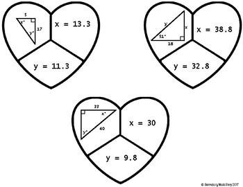 Trigonometry: Valentine's Day Missing Sides/Angles Cut