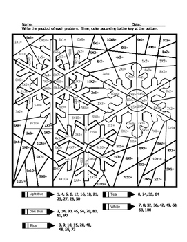 Triple Snowflake Multiplication Coloring Sheet by