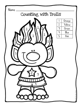 Trolls Color By Number Coloring Page by The Super Teacher
