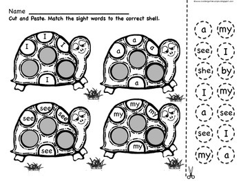 Sight Word Worksheets: Turtle Power : 30+ Words (Set One
