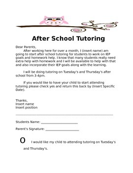 Tutoring Permission Slip Template | TpT