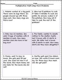 2 Step Word Problem Worksheets - Kidz Activities