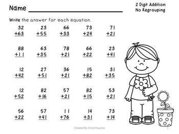 Two Digit Addition & Subtraction Worksheets Without