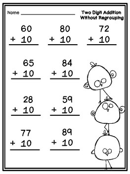 Two Digit Addition and Subtraction: No Regrouping, Spring