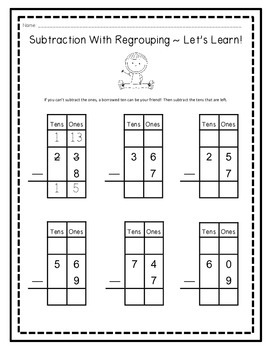 Two-Digit Subtraction Beginner's Packet (With and Without