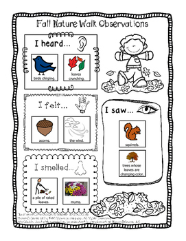 Two Free Fall Nature Walk Observation Worksheets