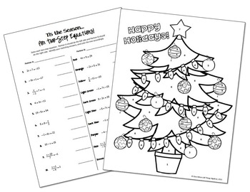 Two-Step Equations Holiday Coloring Activity by All Things