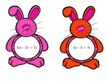 Two Step Equations Rabbit and Carrot Match Up Activity. by