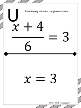 Two Step Equations Scavenger Hunt Activity by The Math