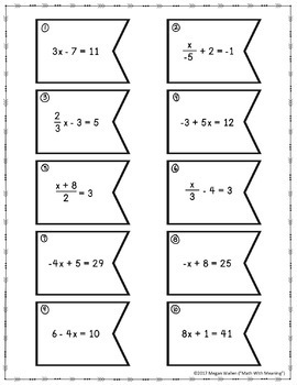 Two-Step Equations (With Integers) Matching Activity