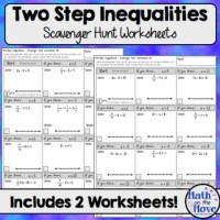 Two Step Inequalities - Scavenger Hunt Worksheets by Math ...