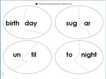 Two Syllable Word Puzzles/Phonemic Awareness by