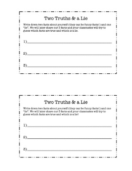 Two Truths and a Lie Ice Breaker by Miss Barker  TpT